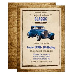 ANY AGE - Classic Car Vintage Birthday Invitations