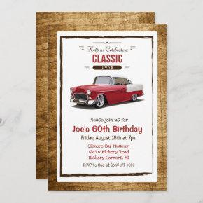 ANY AGE - Classic Car Vintage Birthday Invitation