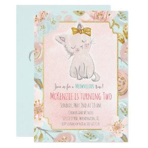 ANY AGE - Cute Kitten Floral Birthday Invitations