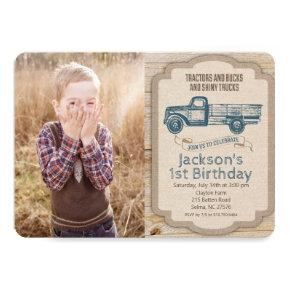 ANY AGE Deer Truck Photo Birthday Invitation