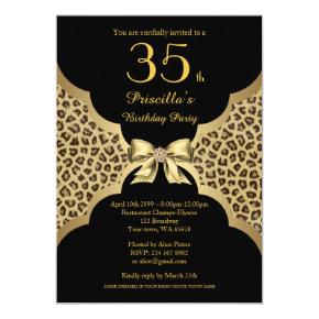 65th Birthday Party 65th Cheetah Black Gold Invitations Candied