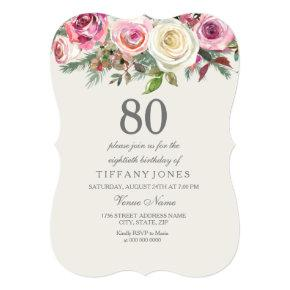 Any Age Elegant White Rose Floral 80th Birthday Card