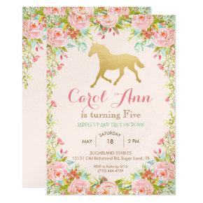 ANY AGE/EVENT - Horse Floral Invitations