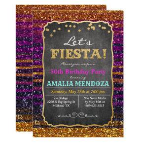 ANY AGE - Fiesta Birthday Glitter Invitation