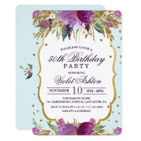 ANY AGE - Floral Birthday Party Invitation