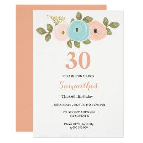 Any Age Floral Peach 30th Birthday Invitations