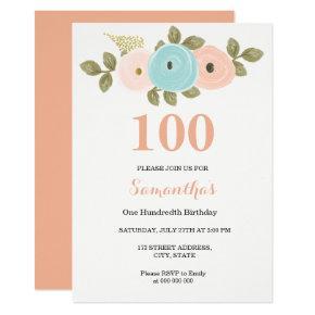 Any Age Floral Pretty Peach 100th Birthday Invite