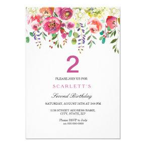 Any Age Girls 2nd Birthday Party Invitations