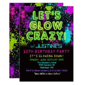 ANY AGE - Glow Party Birthday Invitation