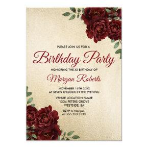 Any Age Gold Foil Burgundy Rose Birthday Party Invitation
