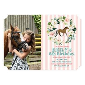 ANY AGE - Horse Floral Birthday Photo Invitation