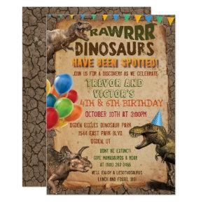 ANY AGE - Joint Dinosaur Birthday Party Invitations