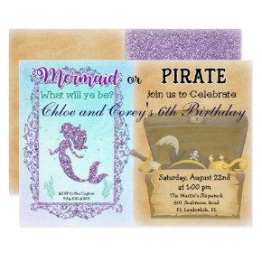 ANY AGE - Mermaid or Pirate Birthday Invitations