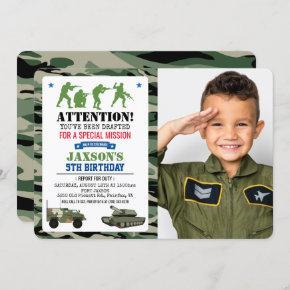 ANY AGE - Military Birthday Photo Invitation