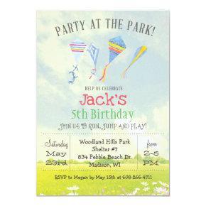 ANY AGE Party at the Park Kite Birthday Invitation