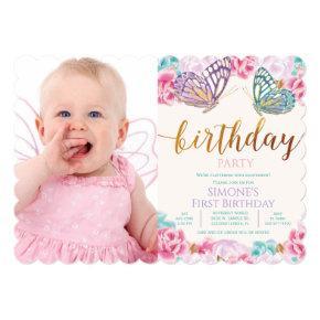 ANY AGE - Photo Butterfly Birthday Invitation