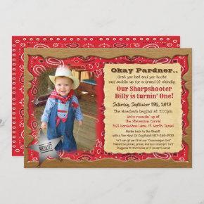ANY AGE - Photo Cowboy Birthday Invitation