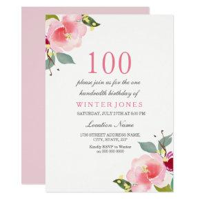 Any Age Pink Floral 100th Birthday Party Invite