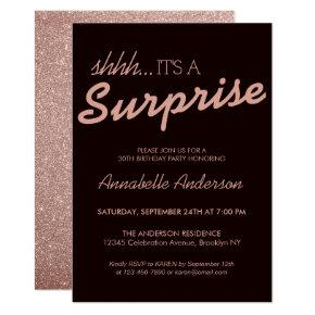 Any Age Pink Rose Gold Glitter Surprise Birthday Invitation