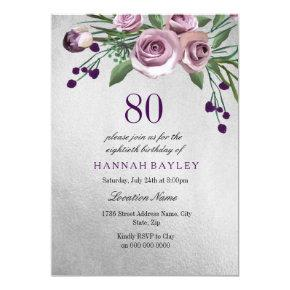 Any Age Purple Silver Rose 80th Birthday Invite