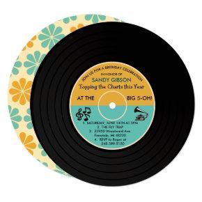 ANY AGE - Retro Vinyl Record Birthday Invitation