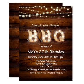 ANY AGE - Rustic BBQ Birthday Invitations