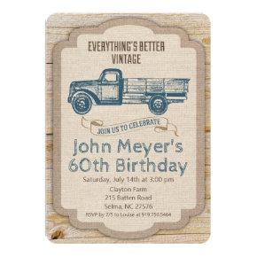 ANY AGE Rustic Pickup Truck Birthday Invitation