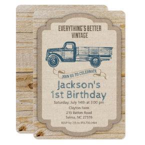 ANY AGE - Rustic Truck Boy Birthday Invitation