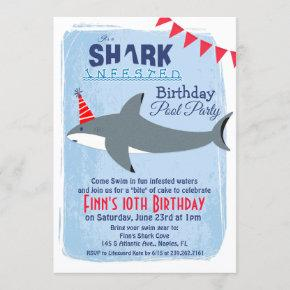 ANY AGE - Shark Pool Party Birthday Invitation
