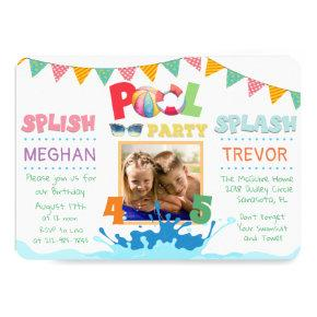 ANY AGE - Splish Splash Dual Pool Party Invitations