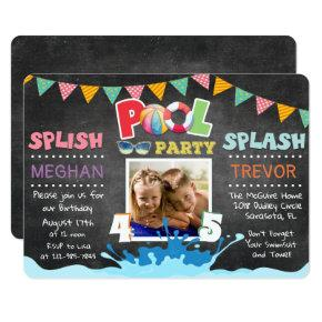 ANY AGE - Splish Splash Dual Pool Party Invitation