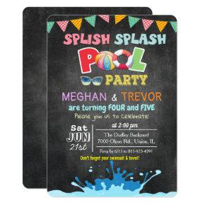 ANY AGE - Splish Splash Dual Pool Party Invitation