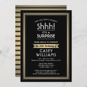 Any Age Surprise Birthday Black Gold White 50th Invitation