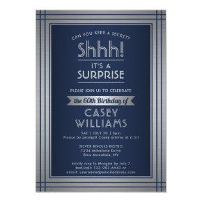 Any Age Surprise Birthday Elegant Navy Blue Silver Invitation