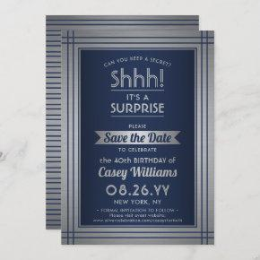 Any Age Surprise Birthday Elegant Navy Blue Silver Save The Date