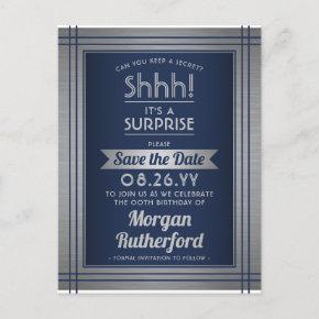 Any Age Surprise Birthday Navy Blue Save the Date Announcement Post