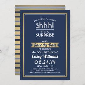 Any Age Surprise Birthday Navy Blue White & Gold Save The Date