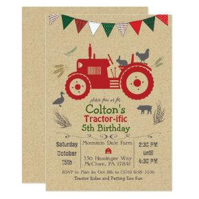 ANY AGE - Tractor Farm Animals Birthday Invitations