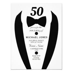 Any  Age Tuxedo Mens 50th Birthday Party Invite