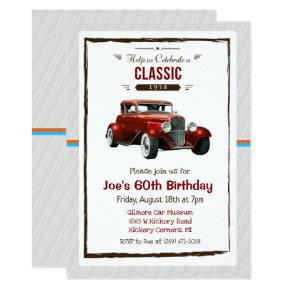 ANY AGE - Vintage Classic Car Birthday Invitations