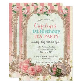 ANY AGE - Vintage Floral Tea Birthday Invitation