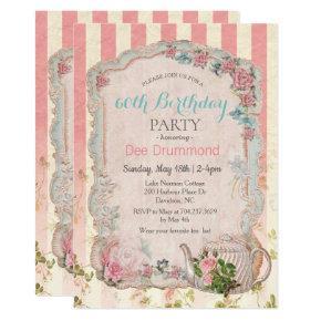 ANY AGE - Vintage Floral Tea Birthday Invitation