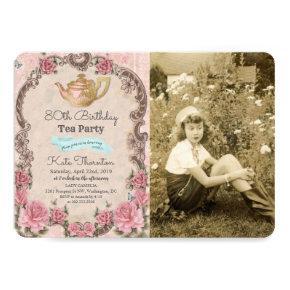 ANY AGE - Vintage Tea Photo Birthday Invitation
