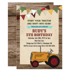 ANY AGE - Vintage Tractor Birthday Invitation