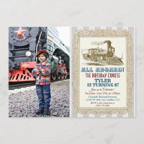 ANY AGE - Vintage Train Birthday Invitation