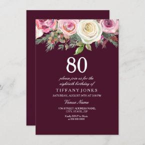 Any Age White Pink Rose Burgundy Birthday Invite