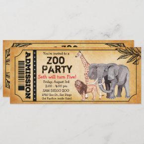 ANY AGE - Zoo Jungle Party Birthday Invitation