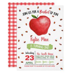 Apple 1st Birthday Invitation - Bushel of Fun