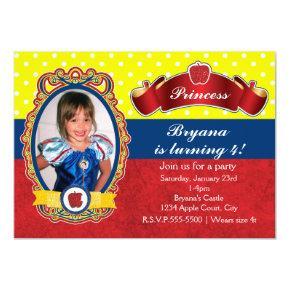 Apple Princess Birthday Party Photo Invitations