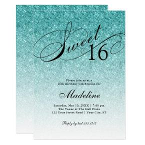 Aqua Blue Glitter Sweet 16 Fancy Script Invitation